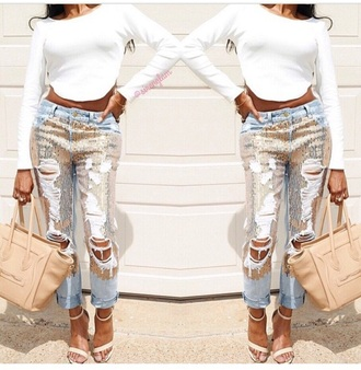 jeans ripped jeans distressed denim shorts distressed denim gold sequins sequin jeans