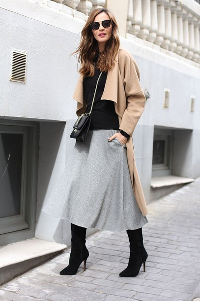 lady addict blogger coat sweater skirt sunglasses bag