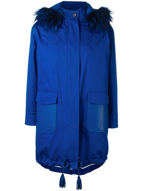 Fendi parka fur fox women cotton blue coat