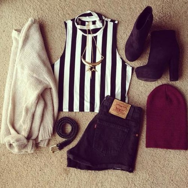 shoes black heels jacket hat tank top shorts belt jewels shirt crop tops t-shirt short beanie