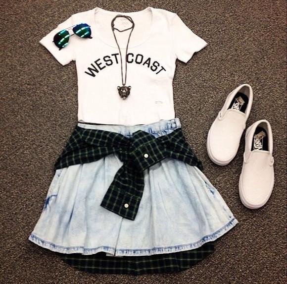 necklace jacket jewels button up blue west coast skirt glasses vans shoes skater white