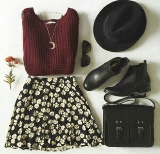 skirt jupe flower shirt flowers fleurs black skirt white skirt noir blanc sweater