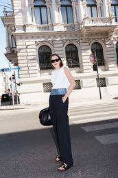 top,white top,pants,black pants,sunglasses,shoes,bag