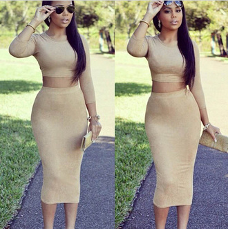 dress two-piece two piece suede faux suede nude neutral colors bodycon dress 2015 trends