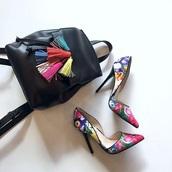 shoes,cute,classy,heels,bag,tassle backpack,rebecca minkoff,backpack,leather backpack