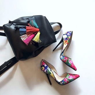 shoes cute classy heels bag tassle backpack rebecca minkoff backpack leather backpack