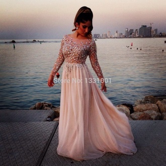 dress prom dress long dress long prom dress diamonds plus size dress prom pink light pink gown sheer sheer dress