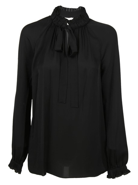 blouse bow black top