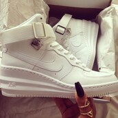 shoes,air force 1's,nike sneakers,wedge sneakers,white,dope,white sneakers,cute af,wedges,fashion,sneakers,uptown nike,nike air force 1