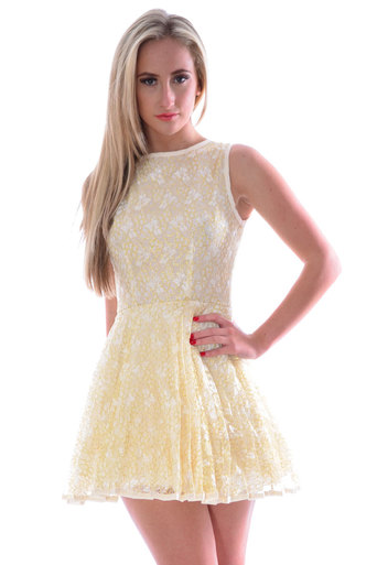 Womens Gera Lace A-Line Pleated Mini Skater Dress In Cream