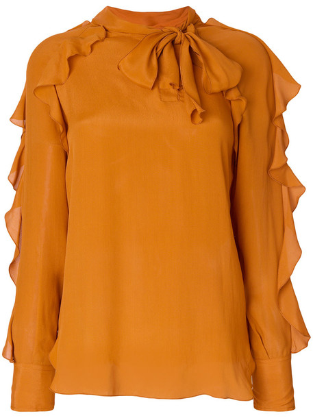 blouse ruffle women silk brown top