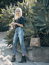 fire on the head,blogger,shirt,jacket,le fashion image,bag,jeans,striped shirt,button up,high waisted jeans,cropped jeans,ripped jeans,black boots,stripe shirt