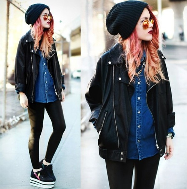 hat black beanie sunglasses shirt coat hipster grunge perfecto le happy soft grunge jacket