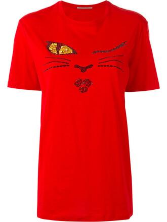 t-shirt shirt women cotton red top