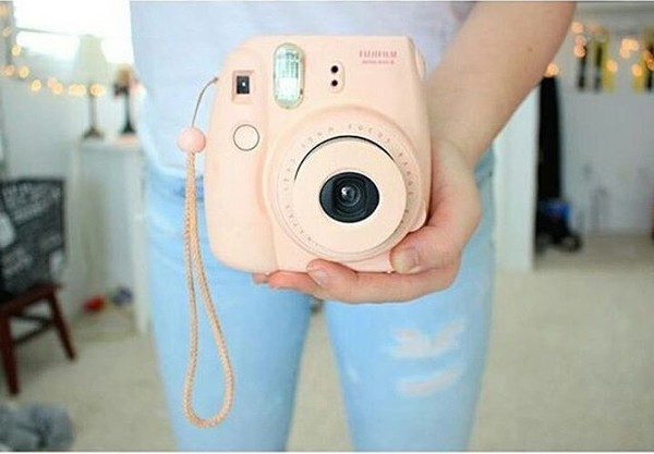 home accessory polaroid camera pink pastel fujifilm polaroid film tumblr girly cute kawaii instagram camera