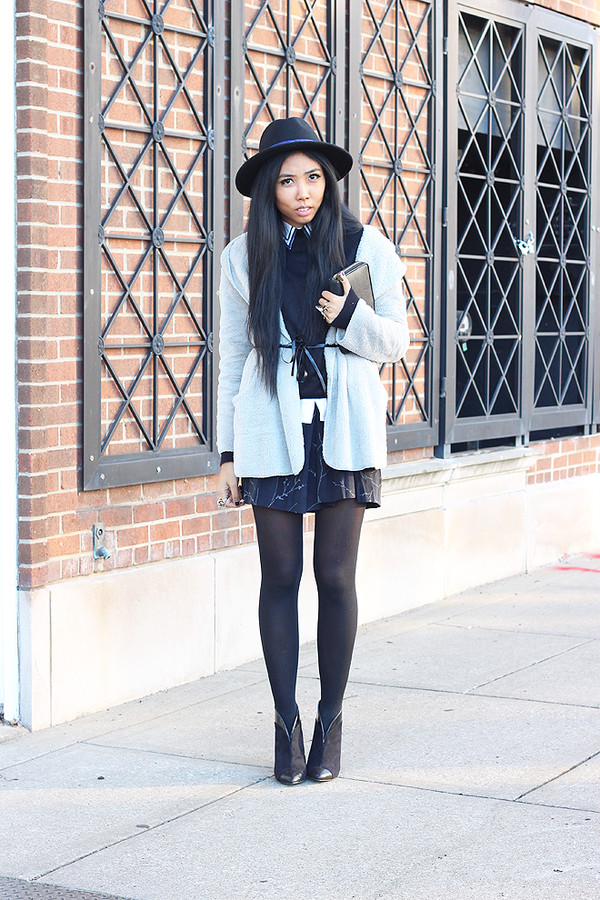 fashion of a novice skirt coat shoes hat bag