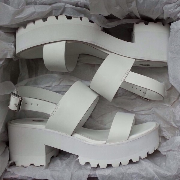 White block heel cleated sole sandals - flat sandals - shoes