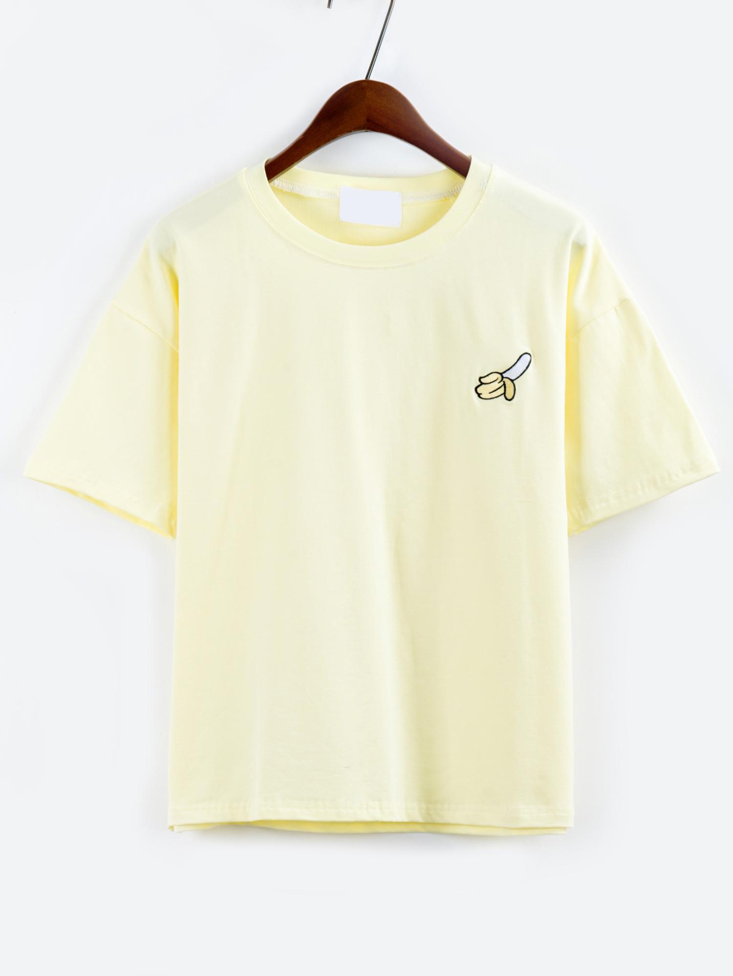 T-Shirt mit fallenden Schultern und Stickerei in gelb- German SheIn(Sheinside)