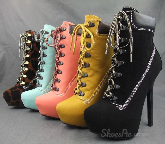 Colorful Platform Stiletto Heels Lace-up Ankle Boots