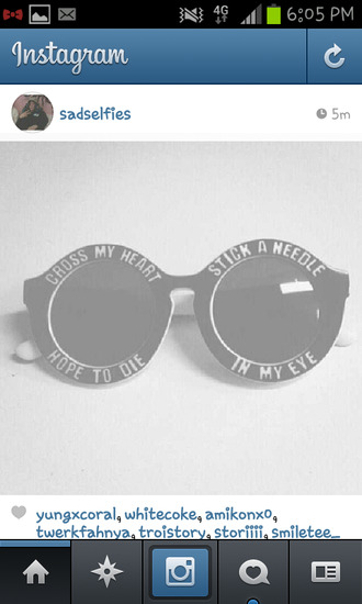 sunglasses cross my heart hope die stick needle eye