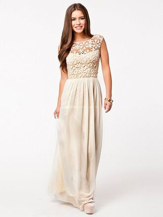beige dress beige chiffon dress long dress lace dress chiffon dress party