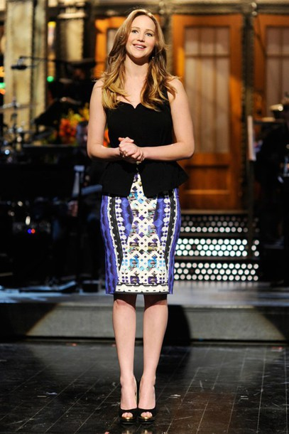 skirt jennifer lawrence tribal pattern sleeveless pencil skirt