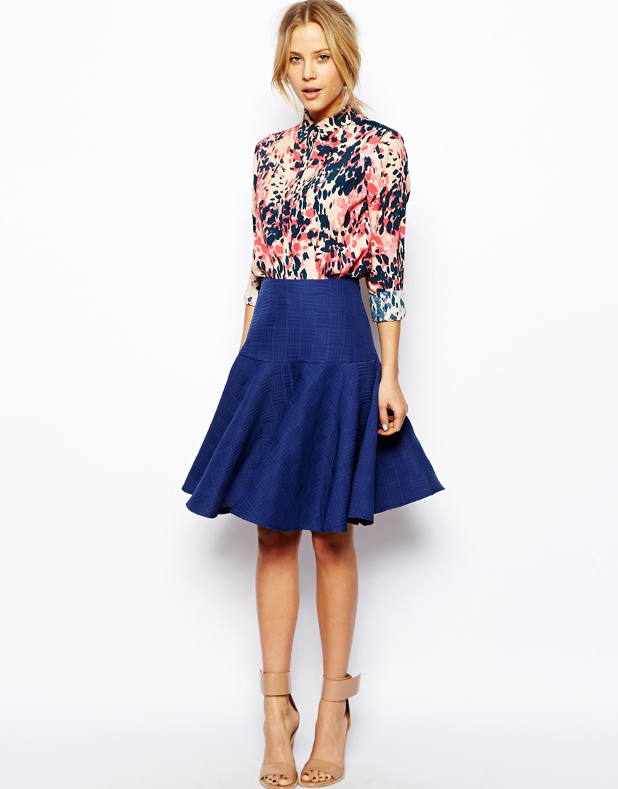 ASOS Midi Skirt in Texture with Full Pleated Peplum at asos.com