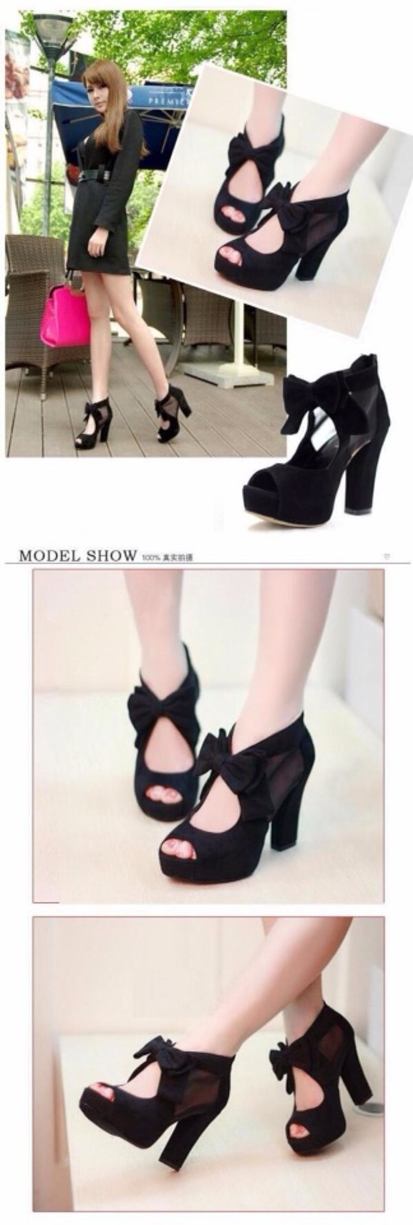 shoes black high heels bows