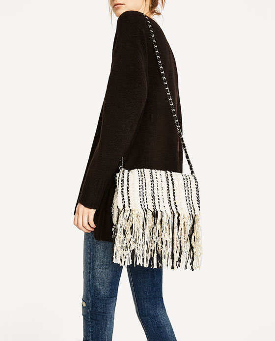 43765dcce81b FRINGED FABRIC CROSSBODY BAG - Crossbody bags-BAGS ...