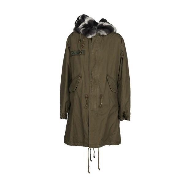 As65 coat fur green army green