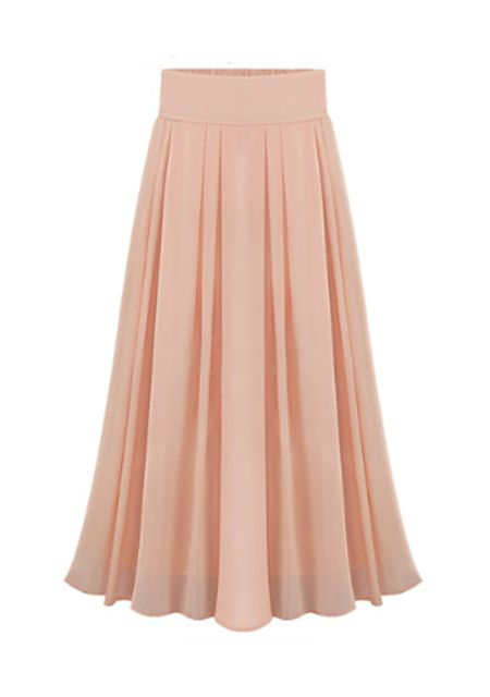 Women's pure color elastic waist pleated long skirts online