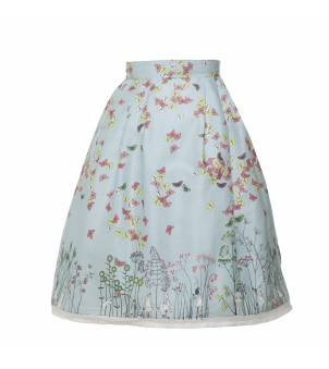 Elspeth Skirt in Butterfly print in Sky Blue - Women's Skirts from Poppy UK