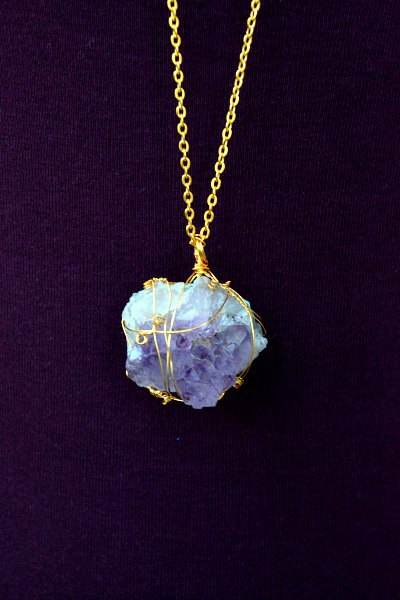 Natural Raw Rough Amethyst Quartz Cluster Necklace - Gold Wire Wrapped - Layered - Aquarius - February Birthstone