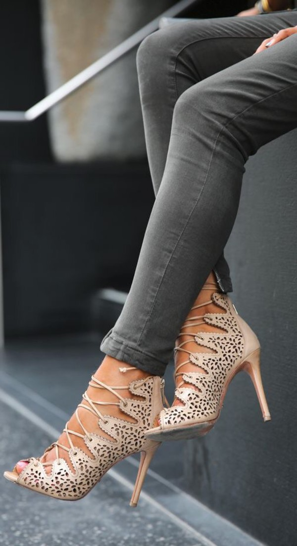 Alaia Nude PU Cut Out Lace Up Heel