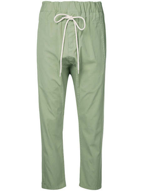 Bassike - drop-crotch relaxed pants - women - Cotton - 12, Green, Cotton