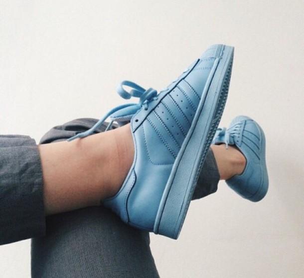 competitive price 7f046 39e94 shoes adidas adidas shoes adidas superstars adidas supercolor pharrell  williams sky blue