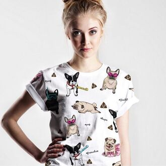 t-shirt yeah bunny dog frenchie pugs dog print poo