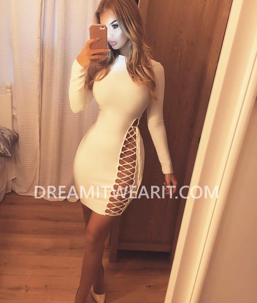 Long Sleeve Lace Up Detail Midi Bandage Dress White