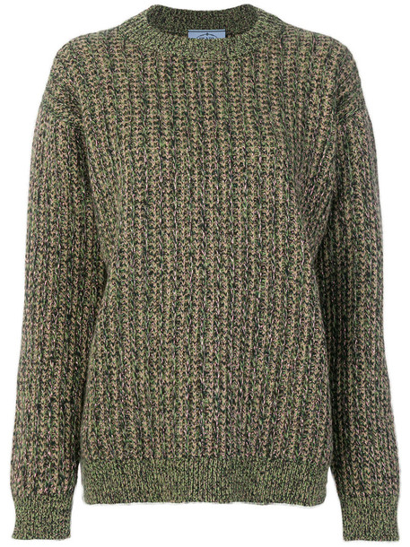 Prada sweater metal women wool knit green