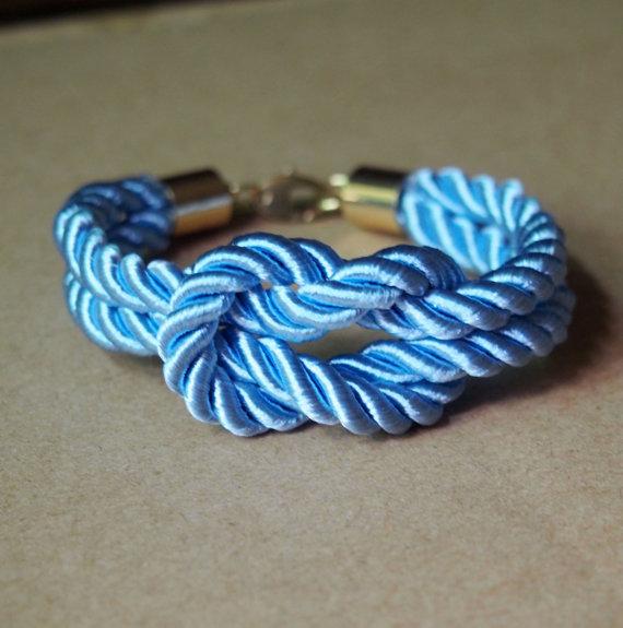 Blue rope knot bracelet pure copper by infinitybraceletlove