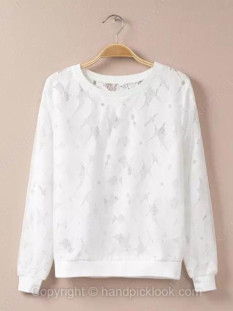 White Round Neck Long Sleeve Fashion Lace Sweatshirt - HandpickLook.com