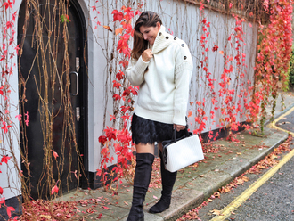 fashion foie gras blogger sweater skirt shoes bag fall outfits white sweater boots over the knee boots handbag
