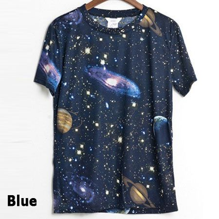 Galaxy t shirt with stellar space graphic print for man or woman korean fashion