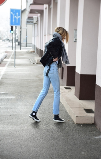 jeans tumblr blue jeans denim sneakers black sneakers high top sneakers converse high top converse black converse jacket black jacket leather jacket black leather jacket scarf grey scarf