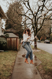 the mop top,blogger,jewels,bag,shoes,top,jeans,ankle boots,white blouse,winter outfits