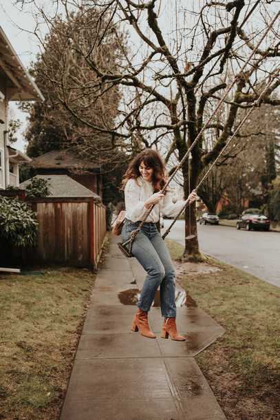 the mop top blogger jewels bag shoes top jeans ankle boots white blouse winter outfits