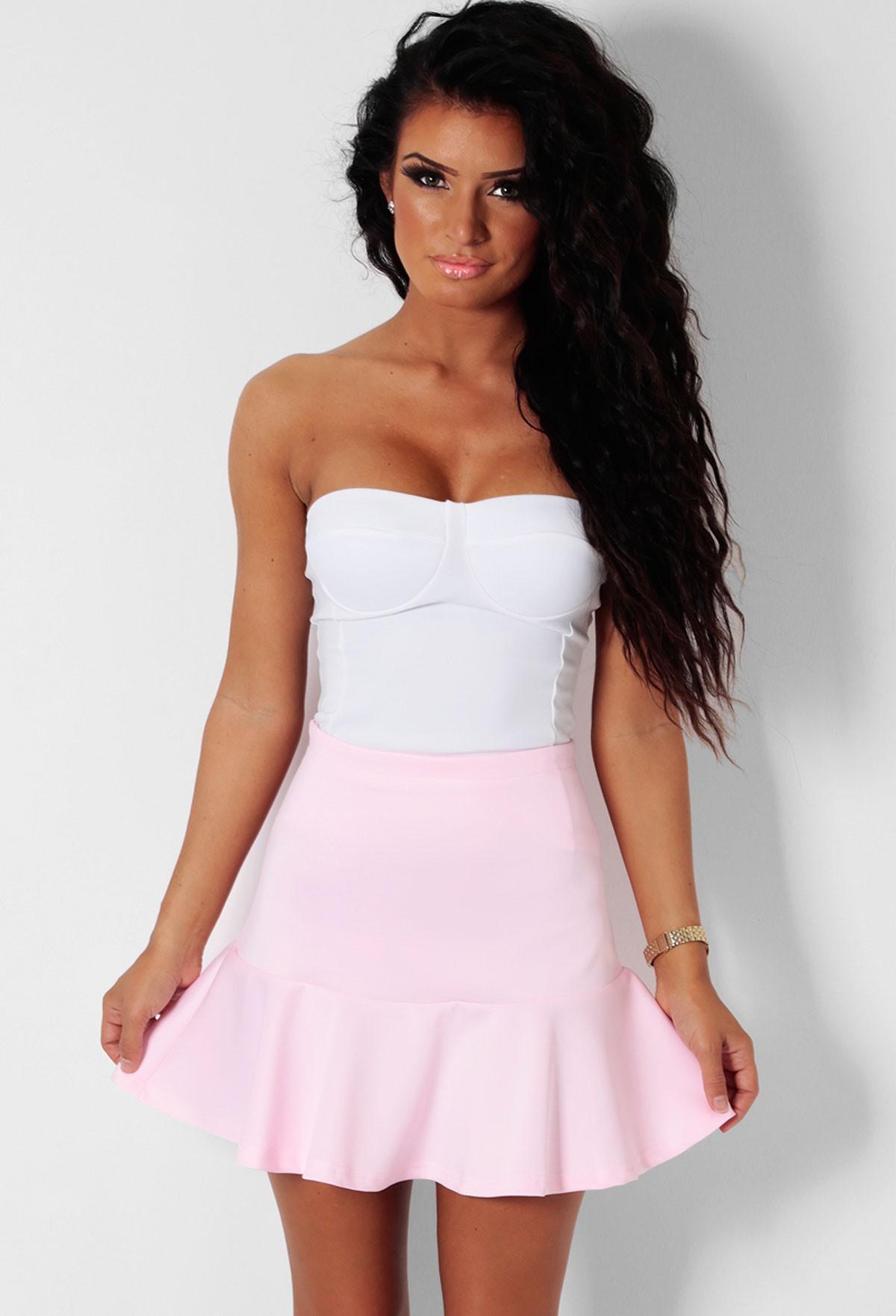 April Baby Pink Frill Skater Skirt | Pink Boutique