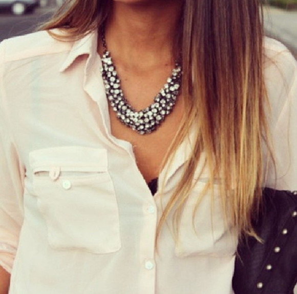 black ecru white blouse shirt white blouse jewels silver silver necklace strass black jewelry black jewels