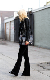 always judging,blouse,sweater,jacket,pants,shoes,jewels,bag,sunglasses,flare velvet pants,black velvet pants