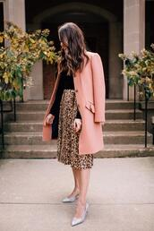 sequins and stripes,blogger,jeans,top,shoes,jewels,sweater,pajamas,fall outfits,pink coat,midi skirt,leopard skirt,pumps,silver heels